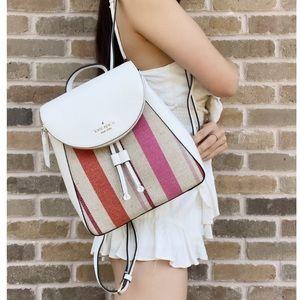 Kate Spade Leila Stripe Canvas Med Flap Backpack